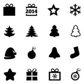 Christmas black flat icons. New Year 2014 icons. — Stock Vector