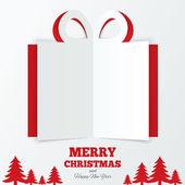 Christmas gift box cut the paper. Christmas tree. — Stock Vector