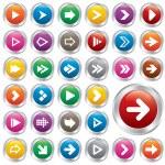 Arrow sign icon set. Internet metallic buttons. — Stock Photo #35589849