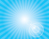 Sun Sunburst Pattern with lens flare. Blue sky. — Stock Photo