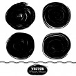 Stock Photo: Black paint spots set. Ink brush Circle set