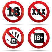 Adults only content button. XXX Vector sticker. — Stock Vector