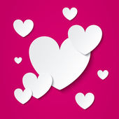 Paper hearts Valentines day card on pink. — Stock Vector