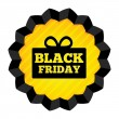 Black Friday Sale label with gift box on white. — 图库照片