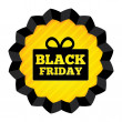 Black Friday Sale label with gift box on white. — Stock Photo