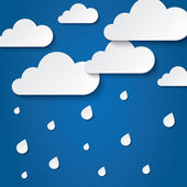 Paper white clouds on blue. Paper raindrops. — Stock Photo