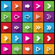Arrow sign icon set. Simple square shape buttons — Stock Vector