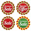 Christmas sale, special offer labels set. Vector. — Stock Vector