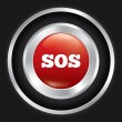 Sos button. Metallic icon on Carbon background. — Stock Vector