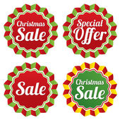 Christmas sale, special offer labels set. Vector. — 图库矢量图片