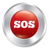 Sos ボタン。白い背景の上の金属のアイコン. — ストックベクタ