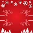 Christmas background with snowflakes and trees. — Stock Photo