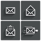 Mail icons. Mail delivery sign. Letter in envelope — Stock Photo
