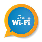 Wifi speech bubble. Free wifi symbol. Wifi zone. — Stockfoto