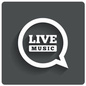 Live music icon. Speech bubble label. Karaoke. — Stock Vector