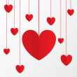 Red paper hearts Valentines day card on white. — Stock Photo #37751641