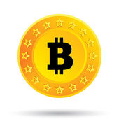 Bitcoin icon. Cryptography currency. P2P. — Stock Photo