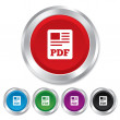 Stockvector : PDF file document icon. Download pdf button.