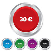 30 Euro sign icon. EUR currency symbol. — Stock Vector