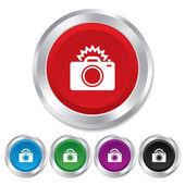 Photo camera sign icon. Photo flash symbol. — Stock Vector