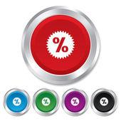 Discount percent sign icon. Star symbol. — Stock Vector