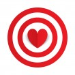 Stock Vector: Red paper heart in center of darts target aim