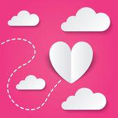 Papier hart Valentijnsdag kaart. manier om hart — Stockvector