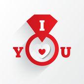 婚約指輪。あなたのサインが大好きです。赤色の紙のハート — ストックベクタ