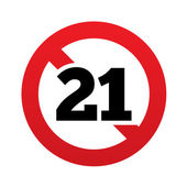 No 21 years old sign. Adults content icon. — Stock Vector