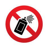 No Graffiti spray sign icon. Aerosol paint symbol — Stock Vector