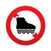 No Roller skates sign icon. Rollerblades symbol. — Stock Vector
