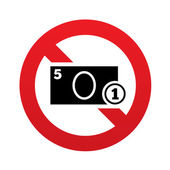 No Cash sign icon. Coin and paper money symbol — Stock Photo