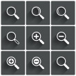 Zoom icons. Search symbols. Magnifier Glass signs. — Stock Photo #38772205