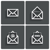 Mail icons. Mail sms symbol. At sign. Letter. — Stock Photo