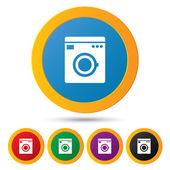 ícones de máquina de lavar. símbolo de máquina de lavar. — Fotografia Stock