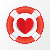 Rote papier herz in rettungsring. valentinstag-karte. — Stockfoto