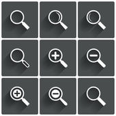 Zoom icons. Search symbols. Magnifier Glass signs. — Stock Photo