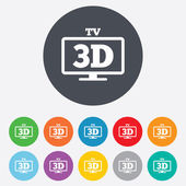 3D TV sign icon. 3D Television set symbol. — Stock Vector