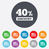 40 percent discount sign icon. Sale symbol. — Stock Vector