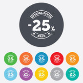25 percent discount sign icon. Sale symbol. — Vettoriale Stock