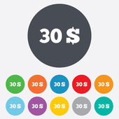 30 dólares firma icono. símbolo de moneda Usd. — Vector de stock