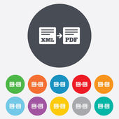 Export XML to PDF icon. File document symbol. — Stock Vector