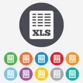 Excel plik dokumentu ikona. przycisk pobierz xls. — Wektor stockowy