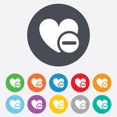 Heart sign icon. Remove lover symbol. — Stock Vector