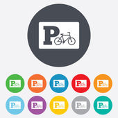 Parking sign icon. Bicycle parking symbol. — Vettoriale Stock