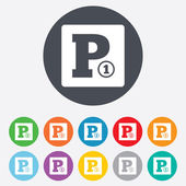 Paid parking sign icon. Car parking symbol. — Stock Vector