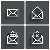 Mail icons. Mail spam symbol. Delete letter. — Stock Vector