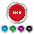 100 Dollars sign icon. USD currency symbol. — Stock Photo #39121381