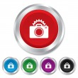 Photo camera sign icon. Photo flash symbol. — Stock Photo