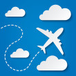 Paper flying plane in clouds. Travel background. — Stock Photo #39296723